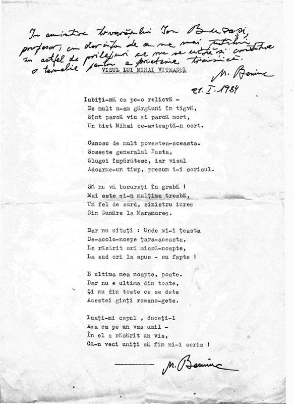 O poezie inedită a lui Mihai Beniuc despre Marea Unire
